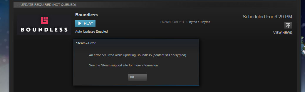Problem with the game updating [Resolved] - Support - Boundless